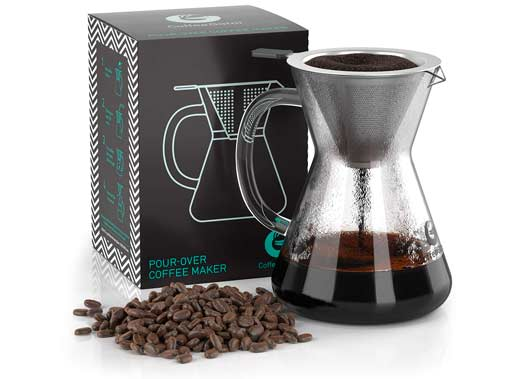 Coffee Gator Pour Over Brewer Hand-Drip Coffee Maker – Glass Carafe